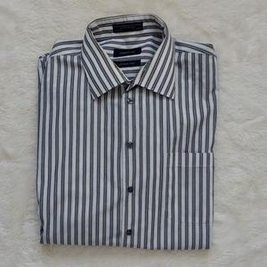 👔2/$20 Claiborne dress shirt black stripes, XXL